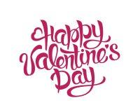 Gelukkig de Handtekening van de Valentijnskaartendag het Van letters voorzien ontwerp Vectortypografie Stock Foto
