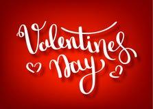 Gelukkig de Handtekening van de Valentijnskaartendag Vector het Van letters voorzien ontwerp Kaart van de de tekstgroet van de va stock illustratie