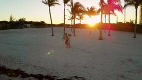 Gelukkig in de holdingshanden die van het liefdepaar onderaan een tropisch strand in Cancun, Mexico lopen stock footage