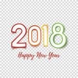 Gelukkig de kaartmalplaatje van de Nieuwjaar 2018 groet royalty-vrije illustratie