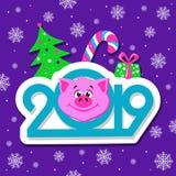 Gelukkig de kaartontwerp van de Nieuwjaargroet met het gezicht van beeldverhaalvarkens op violette achtergrond royalty-vrije illustratie