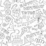 Gelukkig de krabbel zwart-wit naadloos patroon van de verjaardagspartij Royalty-vrije Stock Fotografie