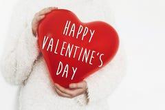 Gelukkig de tekstteken van de valentijnskaart` s dag op hart gelukkige valentijnskaartenconce Stock Foto