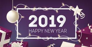 Gelukkig die de kaartmalplaatje van de Nieuwjaargroet met kader door gloeiende lichte slinger, zilveren snuisterij, ster en vakan stock illustratie