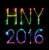 2016 Gelukkig die Nieuwjaar van fonkelingenvuurwerk bij nacht wordt gemaakt Stock Foto