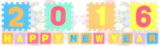 Gelukkig die Nieuwjaar 2016 woorden van alfabetraadsel worden gemaakt Royalty-vrije Stock Afbeelding