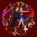 Gelukkig die Salsa-danserspaar op wit de pictogrampictogram, mens en vrouw wordt geïsoleerd in kleding die met hartstocht dansen stock illustratie