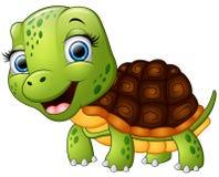 Gelukkig die schildpadbeeldverhaal op witte achtergrond wordt geïsoleerd Stock Foto's