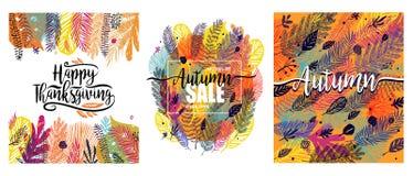 Gelukkig die Thanksgiving day met veelkleurige in de herfstachtergrond wordt geplaatst Groot ontwerpelement, Vectorillustratie, m royalty-vrije stock fotografie