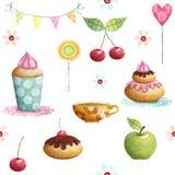 Gelukkig die Verjaardagspatroon van cupcake, kers, appel, suikergoed, bloemen wordt gemaakt De achtergrond van de verjaardag Stock Afbeeldingen
