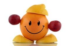 Gelukkig dieet. Grappige vruchten karakterinzameling Stock Foto