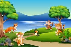 Gelukkig dierenbeeldverhaal op de aardscène royalty-vrije illustratie