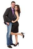 Gelukkig elegant paar in studio Royalty-vrije Stock Foto
