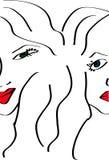 Gelukkig en boos vrouwenbeeld royalty-vrije illustratie