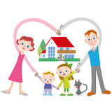 Gelukkig familie en huis Royalty-vrije Stock Foto's