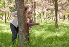 Gelukkig familie en kind in de zomerpark Mensen die en achter een boom verbergen spelen Mooi landschap met bomen en groen gras Royalty-vrije Stock Foto