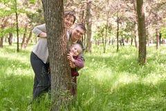 Gelukkig familie en kind in de zomerpark Mensen die en achter een boom verbergen spelen Mooi landschap met bomen en groen gras Stock Foto