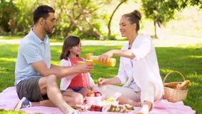 Gelukkig familie het drinken sap op picknick bij park stock footage