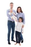 Gelukkig familieportret - de vader, de moeder, de dochter en de zoon isoleren Stock Afbeelding