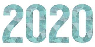 2020 Gelukkig geïsoleerd Nieuwjaar blauw laag polysymbool Stock Foto