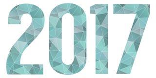2017 Gelukkig geïsoleerd Nieuwjaar vector blauw laag polysymbool Stock Foto