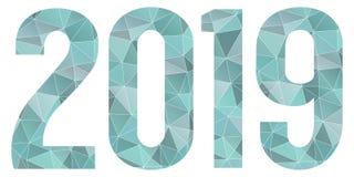 2019 Gelukkig geïsoleerd Nieuwjaar vector blauw laag polysymbool Stock Fotografie
