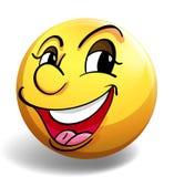 Gelukkig gezicht op gele bal Stock Afbeelding