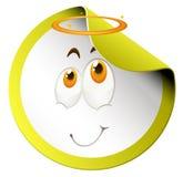 Gelukkig gezicht op ronde sticker vector illustratie