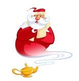 Gelukkig glimlachend beeldverhaalgenie Santa Claus die een magische oi naar voren komen Royalty-vrije Stock Foto
