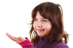 Gelukkig glimlachend meisje met lege hand Stock Fotografie