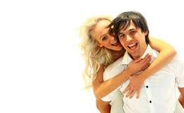 Gelukkig glimlachend paar in liefde Stock Foto's