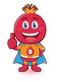 Gelukkig granaatappelfruit als superhero stock foto