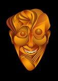 Gelukkig grappig karakterportret in geel op een zwarte achtergrond Royalty-vrije Stock Foto's