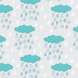 Gelukkig grappig regendruppels naadloos patroon Stock Afbeeldingen