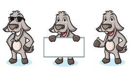 Gelukkig Gray Goat Mascot Royalty-vrije Stock Afbeelding