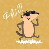 Gelukkig Groundhog-Dagontwerp met leuke marmot in zonnebril die park onder de zon, voorspelling lopen van weer, dier Stock Afbeelding