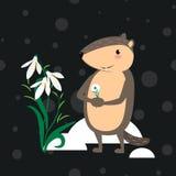 Gelukkig Groundhog-Dagontwerp met leuke marmotmarmotten in zwarte cilinder op hoofd en vlinderdas, voorspelling van weer, dier Stock Foto
