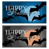 Gelukkig Halloween, achtergrond met knuppels en maan stock illustratie