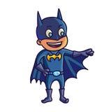 Gelukkig Halloween Beeldverhaal leuk kind in kostuumbatman vector illustratie