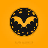 Gelukkig Halloween-concept met knuppel en maan Stock Afbeelding