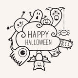 Gelukkig Halloween countour schetst krabbel Spook, knuppel, pompoen, spin, monsterreeks Wolk frme Wit Vlak ontwerp als achtergron Stock Fotografie