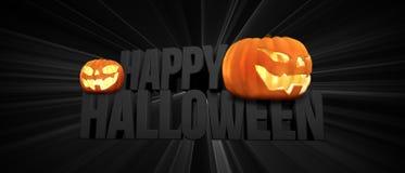 Gelukkig Halloween 3d Halloween geeft terug De pompoenen van Halloween stock illustratie