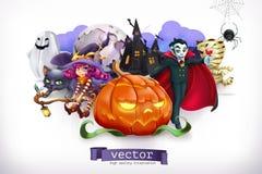 Gelukkig Halloween 3d vectorillustratie vector illustratie