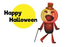 Gelukkig Halloween Dansende pompoen met wandelstok in hoed Beeldverhaalkarakter met tekst De kaart van de groet Witte achtergrond Royalty-vrije Stock Foto's