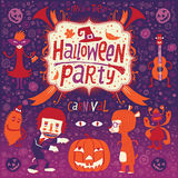 Gelukkig Halloween De affiche, de kaart of de achtergrond van Halloween voor Halloween-partijuitnodiging Royalty-vrije Stock Afbeelding