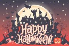 Gelukkig Halloween De affiche, de kaart of de achtergrond van Halloween voor Halloween-partijuitnodiging Stock Fotografie