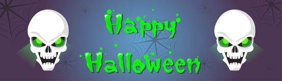 Gelukkig Halloween-de Banner Eng Gezicht van het Schedel Menselijk Hoofdspook Royalty-vrije Stock Foto's