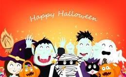 Gelukkig Halloween, de confettienexplosie van de vieringspartij, vampier, pompoen, brij, katten, griezelig, heksen en leuk zombie stock illustratie
