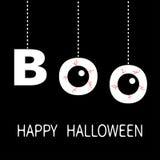 Gelukkig Halloween De hangende van de tekstoogappels van het woordboe-geroep bloedige aders De draad van de streepjelijn De kaart stock illustratie