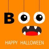 Gelukkig Halloween De hangende van de tekstoogappels van het woordboe-geroep bloedige aders Griezelige het gillen mond, hoektande royalty-vrije illustratie